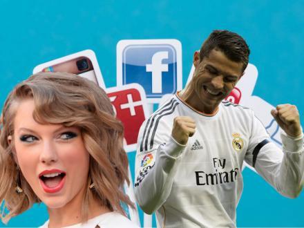 Cristiano Ronaldo y Taylor Swift, reyes de las redes sociales