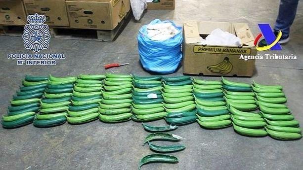 La Policía Nacional intercepta 170 kilos de cocaína ocultos en bananas sintéticas