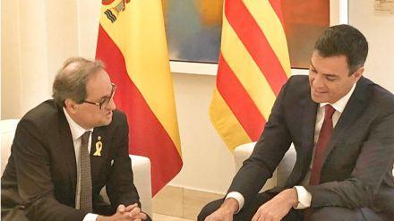 Reunión de Pedro Sánchez y Quim Torra en La Moncloa