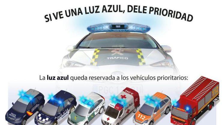 Los vehículos prioritarios en servicio de emergencia llevarán luces azules