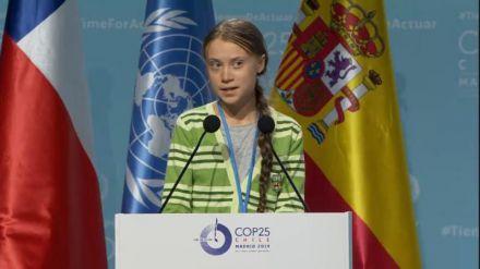 Greta Thunberg: 'Disminuyen los presupuestos contra el cambio climático, pero como se sigue ignorando, volveré a decirlo'