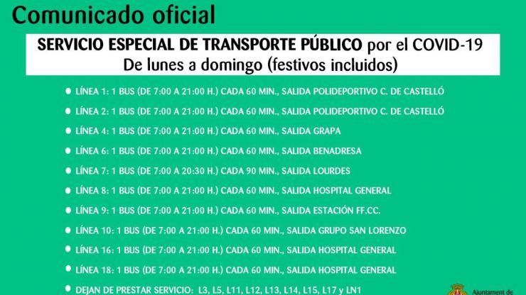 Castelló reduce el transporte público un 50% ante las directrices sanitarias por coronavirus