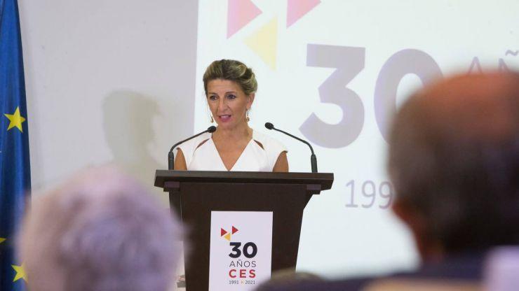 Yolanda Díaz llama a incorporar la sostenibilidad y la sensibilidad ecológica a la agenda de la negociación colectiva