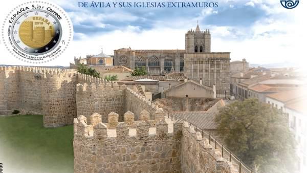 Correos edita un sello dedicado a Ávila con la imagen que ilustra la moneda puesta en circulación en febrero