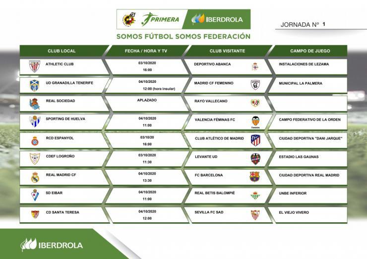 Primera Iberdrola: Estos son los horarios de la jornada inaugural