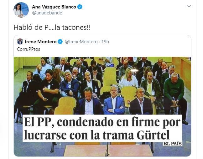 'Habló de P....la tacones': El tweet que una diputada del PP ha dedicado a Irene Montero